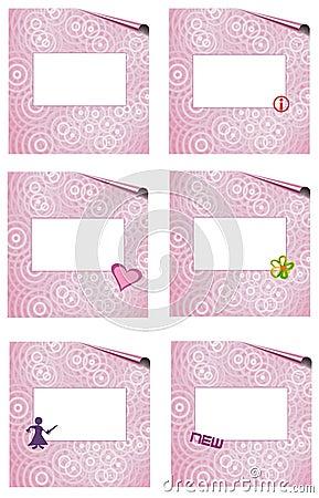Pink page set witk symbols