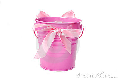Pink pail with ribbon