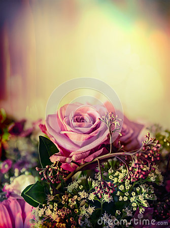 Free Pink Pale Rose Bouquet On Pastel Background, Close Up Stock Images - 57992354