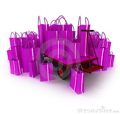 Pink pallet truck full of pink shopping bags