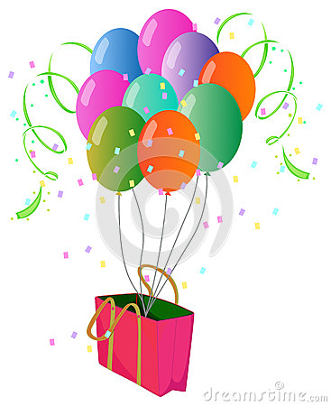 A pink paper bag with balloons