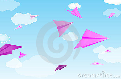 Pink paper planes
