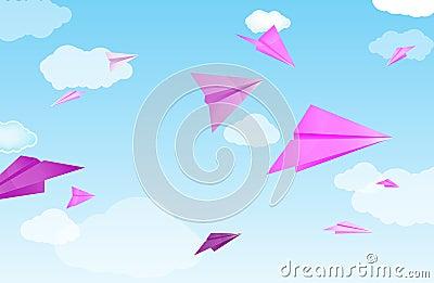 Pink paper planes
