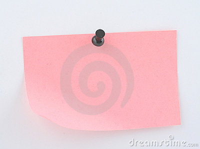 Pink paper sheet  pinned