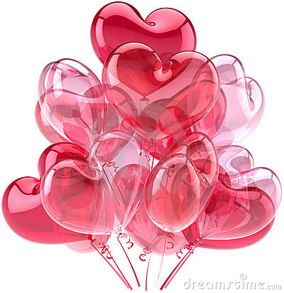 Pink party balloons in form as hearts
