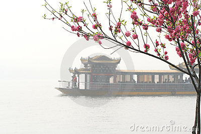 Pink Peach and Chinese Boat