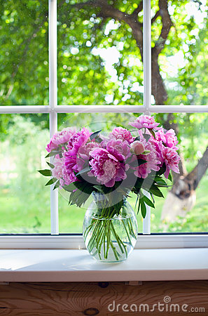 Free Pink Peonies On Window Sill Royalty Free Stock Photo - 36443505