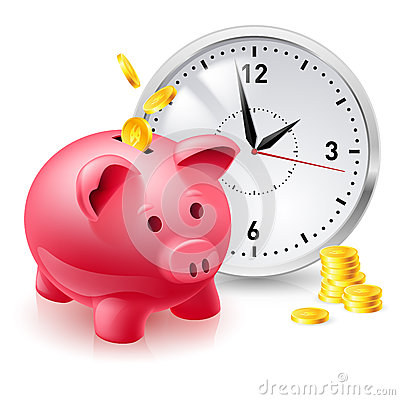 Free Pink Pig Bank With Coins And Clock Stock Photography - 27817762