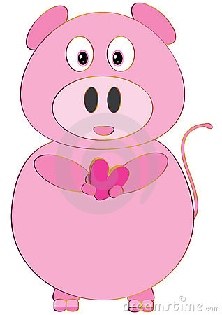 Pink Pig Love Isolated_eps