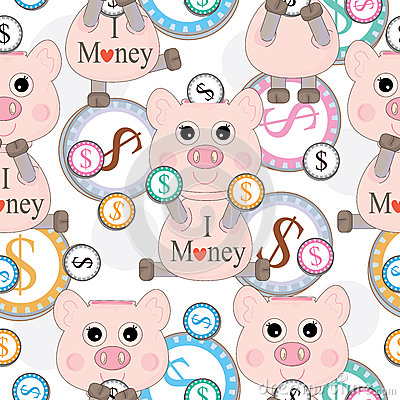 Pink Pig Love Money Seamless Pattern_eps