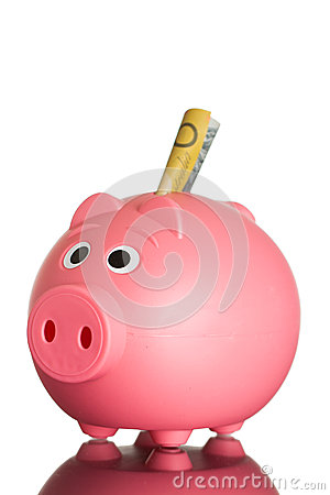 Pink piggy bank with Australian dollars