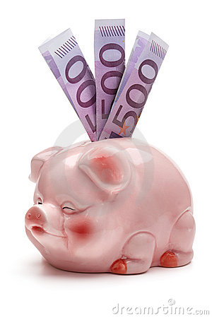 Pink piggy bank with five hundred euro banknotes.