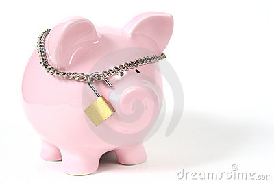 Pink Piggy Bank with Lock on white background