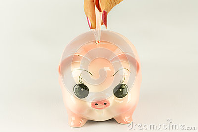 Pink Piggy Bank With Money.