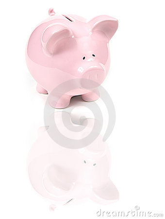Pink Piggy Bank with Reflexion