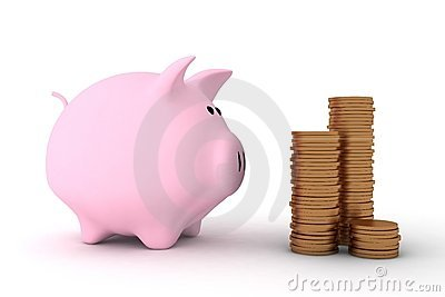 Pink piggy bank and some coins