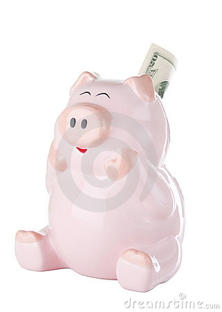 Pink Piggy Bank With Twenty Dollar Bill
