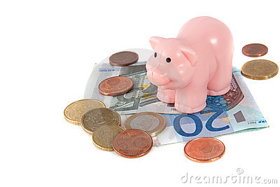 A pink piggy on top of  saving euro banknotes