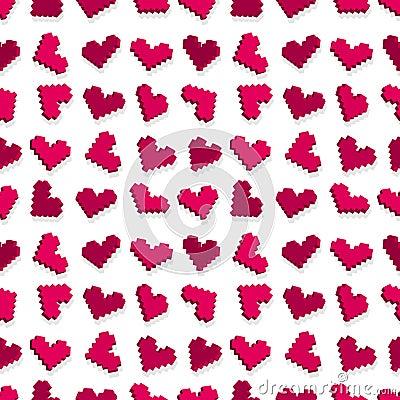 Pink pixel heart seamless background pattern