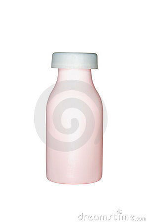 Pink plastic bottle with grey cap