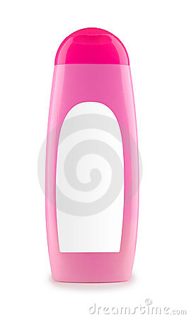 Pink plastic bottle isolated
