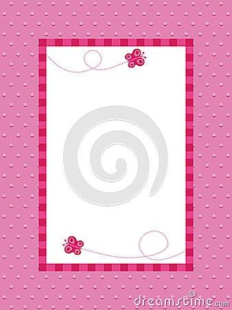 Pink polka dot background with frame