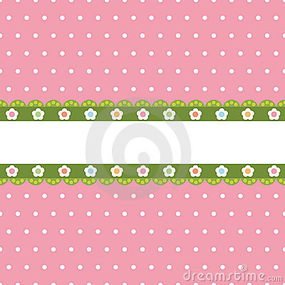 Pink polka dot with banner