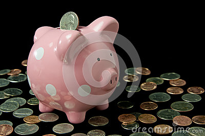 Pink Polka Dot Piggy Bank with Cash