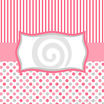 Pink polka dots and stripes invitation card