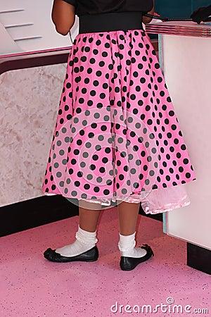Pink polka dotted poodle skirt