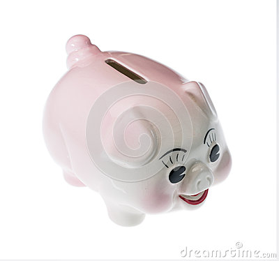 Pink pottery piggy bank isolated