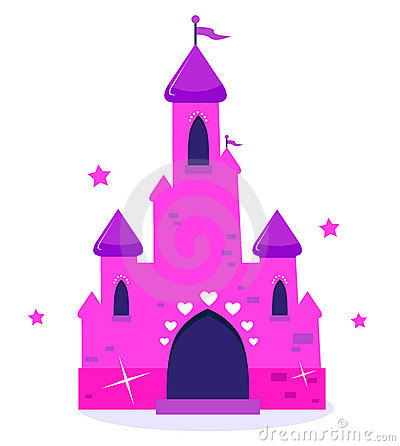Pink Princess cartoon castle isolated on white
