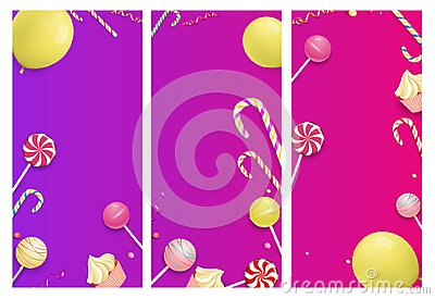Pink and purple backgrounds with color festive pattern. Vector Illustration