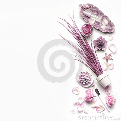 Free Pink Purple Cosmetic Set For Facial Skin Care With Roses On White Background, Top View, Place For Text Stock Photography - 113553102