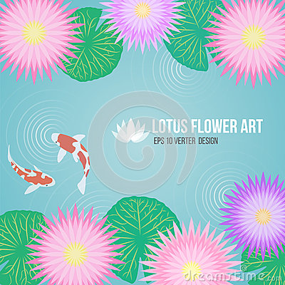 Free Pink Purple Lotus Flowers And Carp Fish In Basin Water Background Royalty Free Stock Images - 54468529