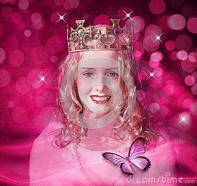 Free Pink Queen Princess Girl Child Royalty Free Stock Photography - 25072197