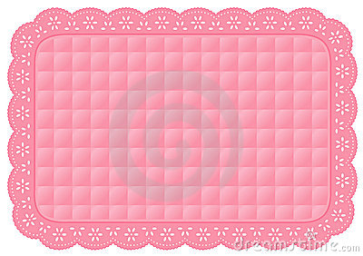 Pink Quilted Eyelet Lace Place Mat