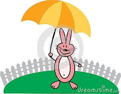 Pink rabbit with umbrella