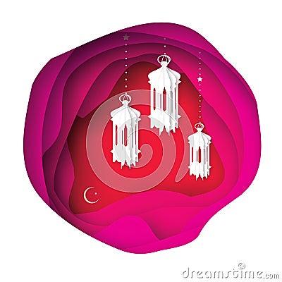 Pink ramadan kareem greeting card paper cut hanging traditional pink ramadan kareem greeting card paper cut hanging traditional arabic lamps vector illustration m4hsunfo