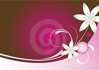 Pink red and brown abstract floral background