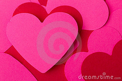 Pink and red hearts