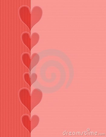 Pink Red Hearts Striped Border Background