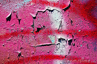 Pink and red peeling wall