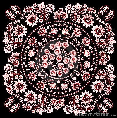 Pink with red symmetric design