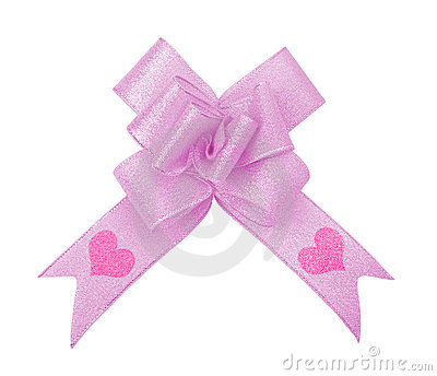 Pink ribbon bow with valentine