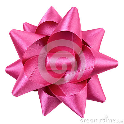 A pink ribbon bows