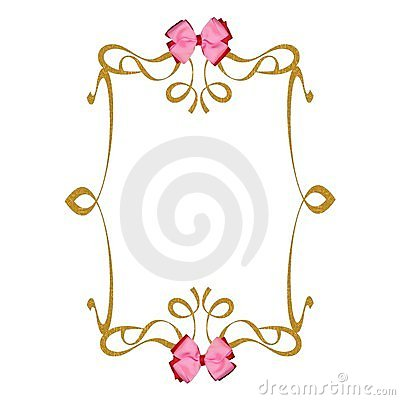 Pink ribbons bows gold frame background