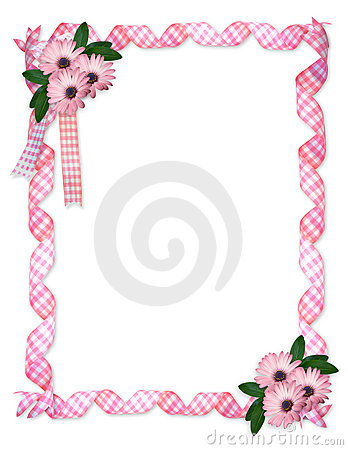 Pink ribbons daisy border