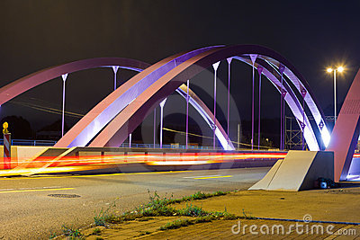 Pink Road Bridge at Night