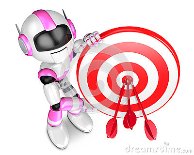 Pink Robot Character holding a Big Dart board. Create 3D Humanoi